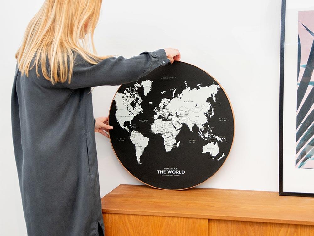 Pin Travel Map black