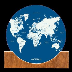 Standing World Map - Blue