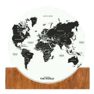 Standing World Map - White