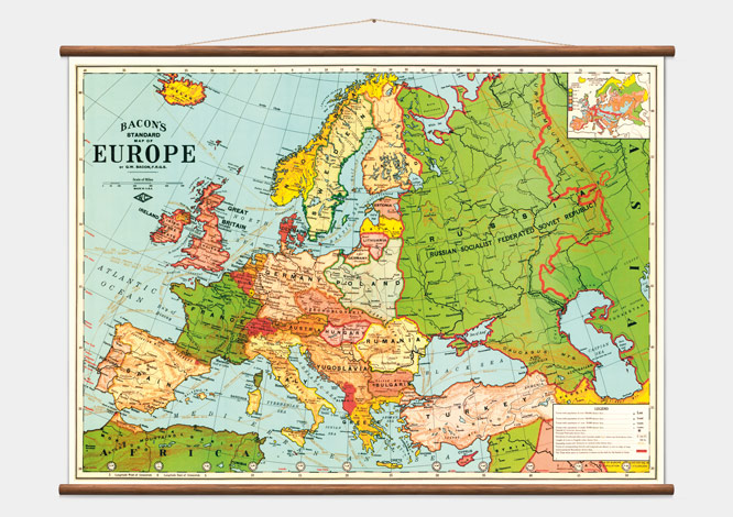 vintage europe map wall discovery